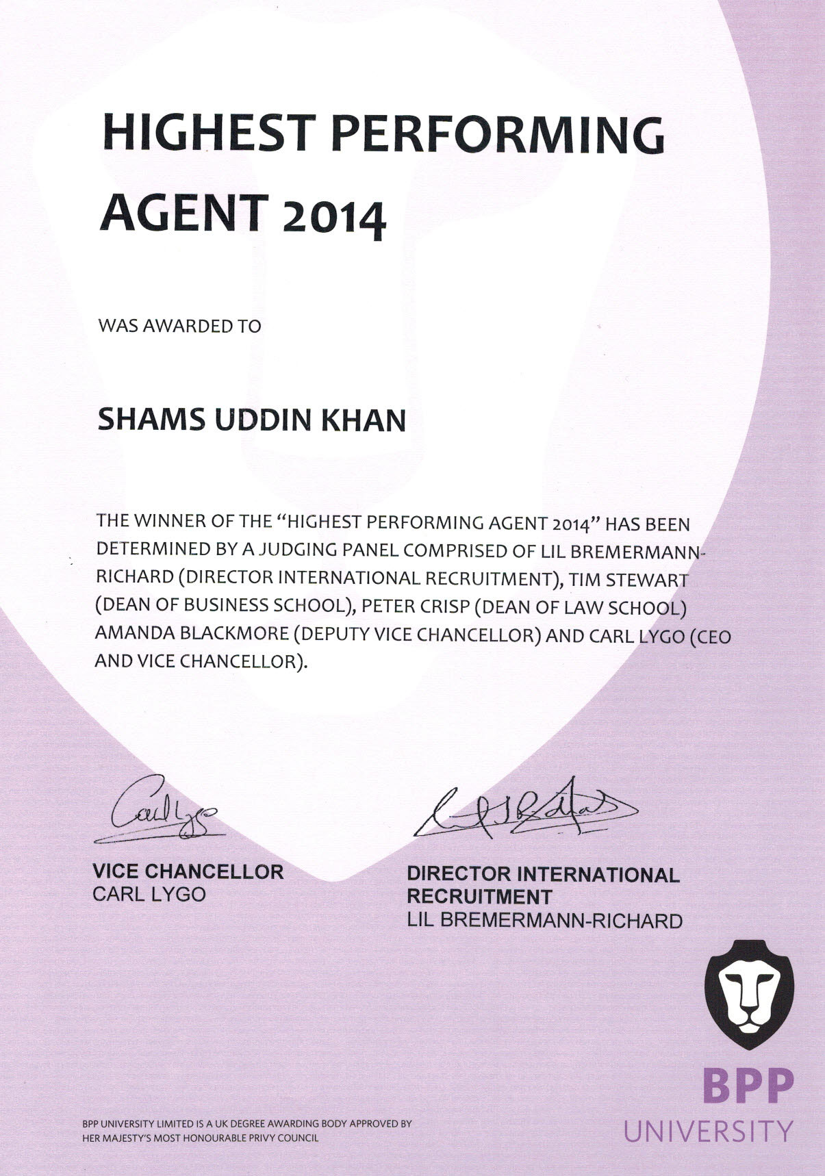 Highest Performing Agent 2014